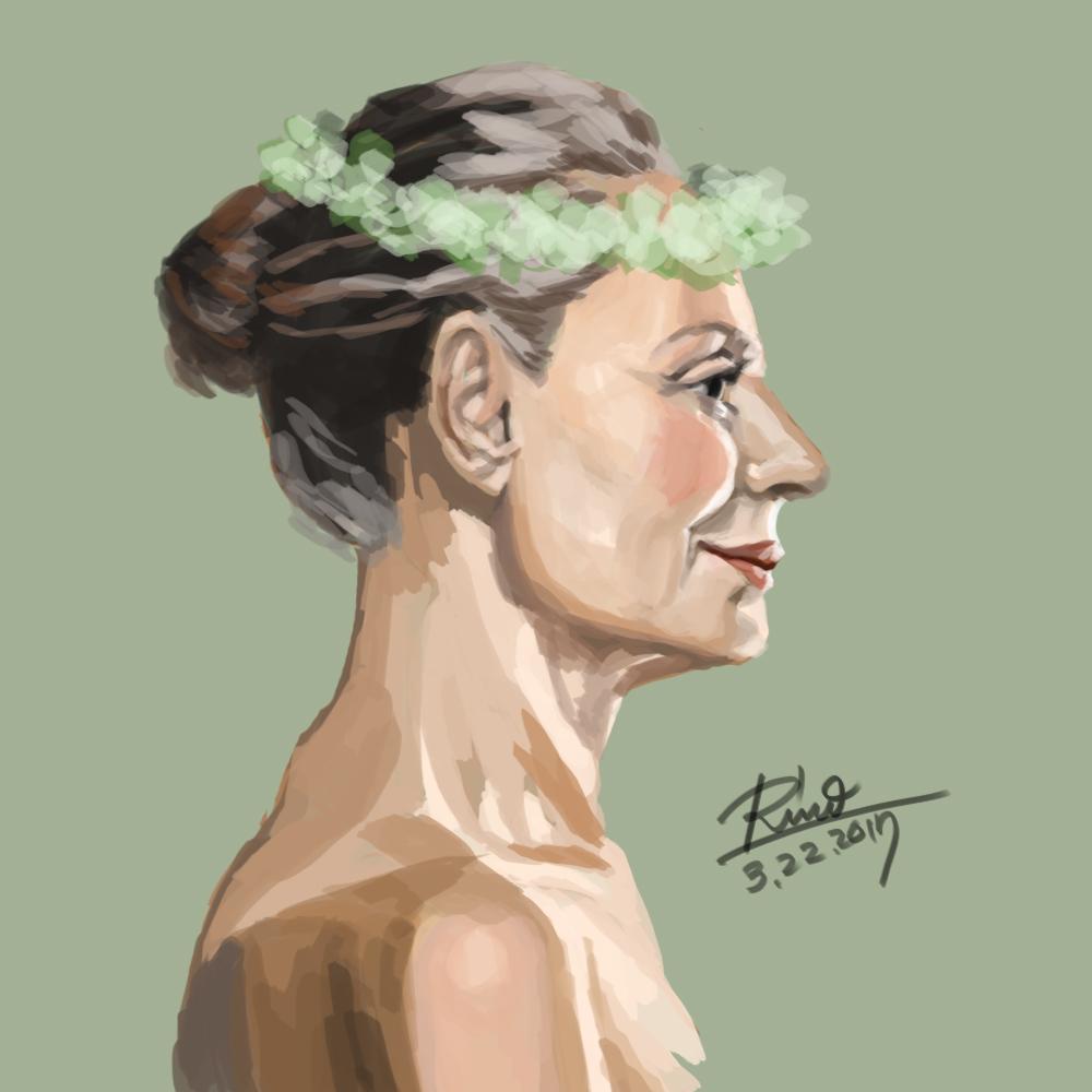 【花冠シリーズ】初老の女性横顔